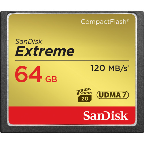 SanDisk 64GB Extreme PRO Compact Flash 120MB/s Memory Card Image